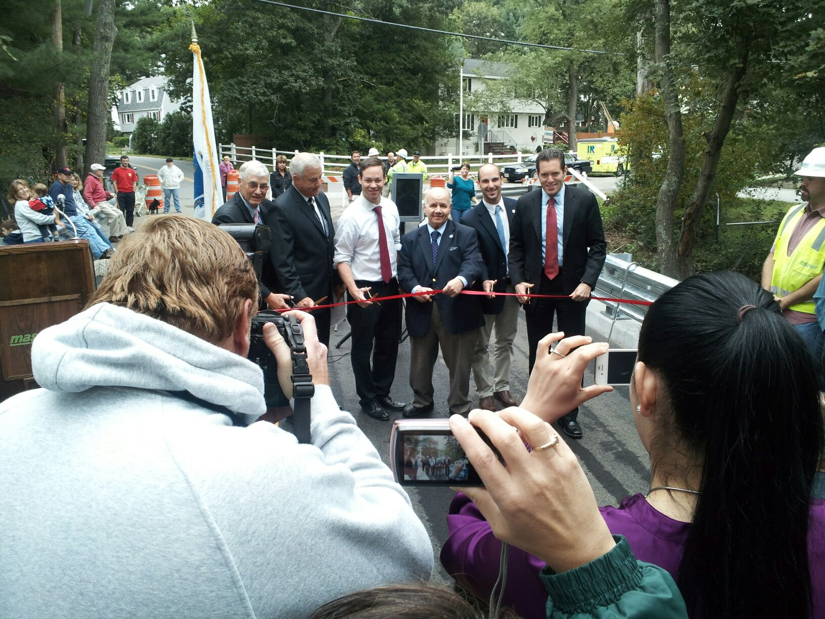 Featured in the photo are, from left, Tewksbury Selectman Doug Sears, MassDOT Highway Administrator Frank DePaola, state Reps. Paul Adams of Andover, Jim Miceli of Wilmington and Marc Lombardo of Billerica, and state Sen. Barry Finegold of Andover.
